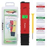 Medidores de pH,Preciva Medidor de Prueba de Calidad del Agua digital con Pantalla LCD Retroiluminada,4 Batería Incluida y con 4 paquetes de Polvos de Calibración para Neutralizar el líquido